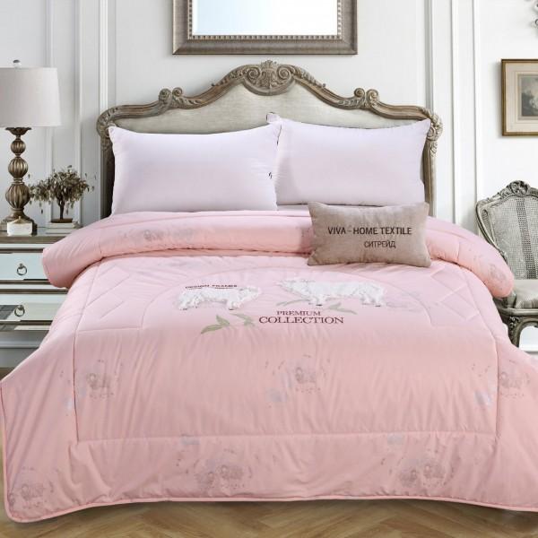 Одеяло Овечий пух с вышивкой Premium 1.5 спальный