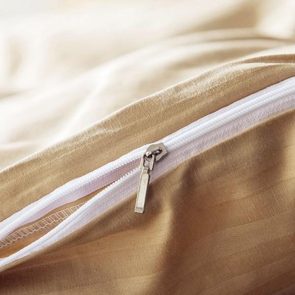 Постельное белье Однотонный страйп-сатин на резинке Дуэт Семейный